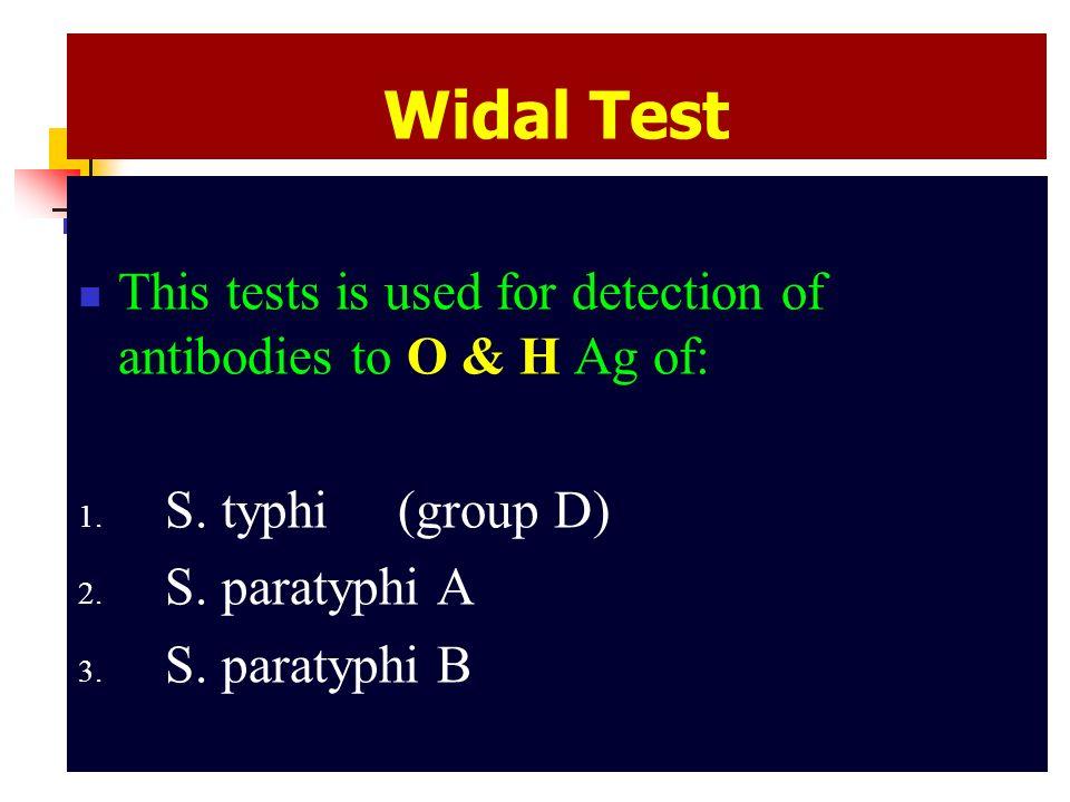 O Antibodies Widal Test. - p...