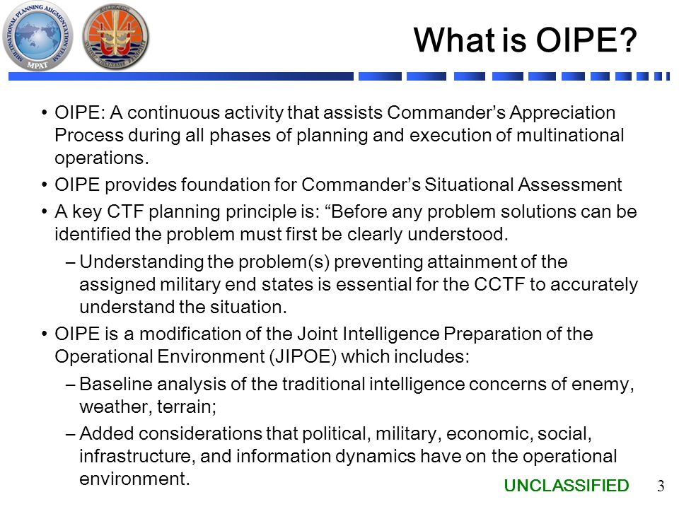 Operational Intelligence Preparation of the Environment (OIPE ...