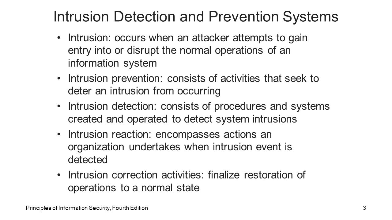 intrusion detection and prevention systems An intrusion detection system (ids) monitors network traffic and monitors for suspicious activity and alerts the system or network administrator in some cases, the ids may also respond to anomalous or malicious traffic by taking action such as blocking the user or source ip address from accessing the network.
