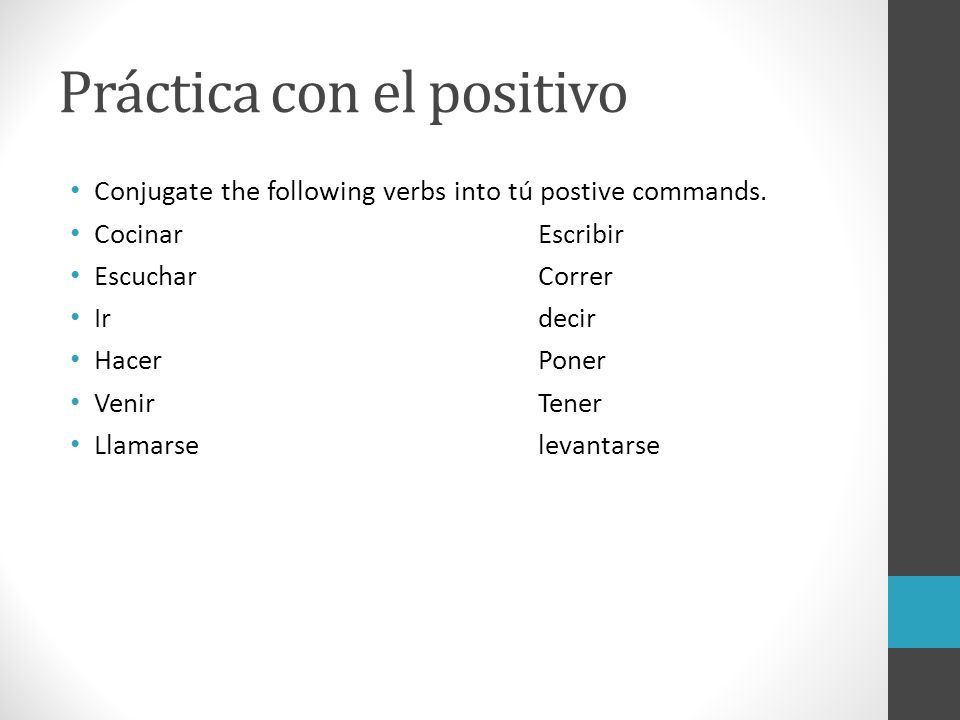 El imperativo Commands in Spanish. - ppt download