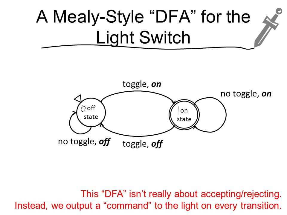 A Mealy-Style DFA for the Light Switch
