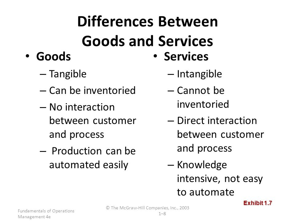 important differences between goods production and service operations