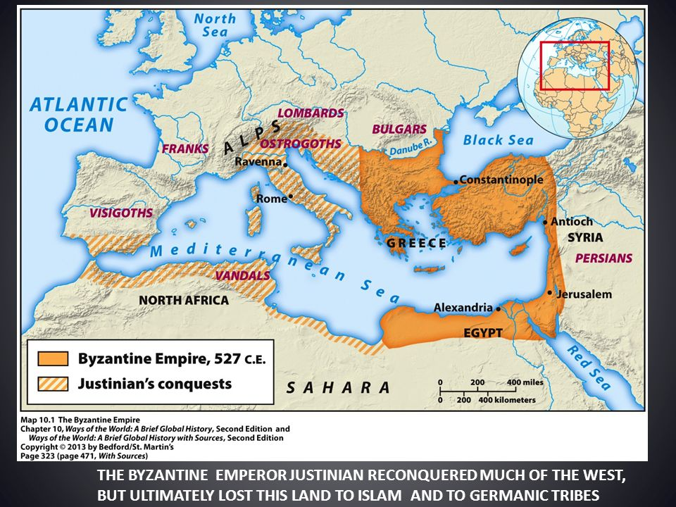 THE BYZANTINE EMPEROR JUSTINIAN RECONQUERED MUCH OF THE WEST,