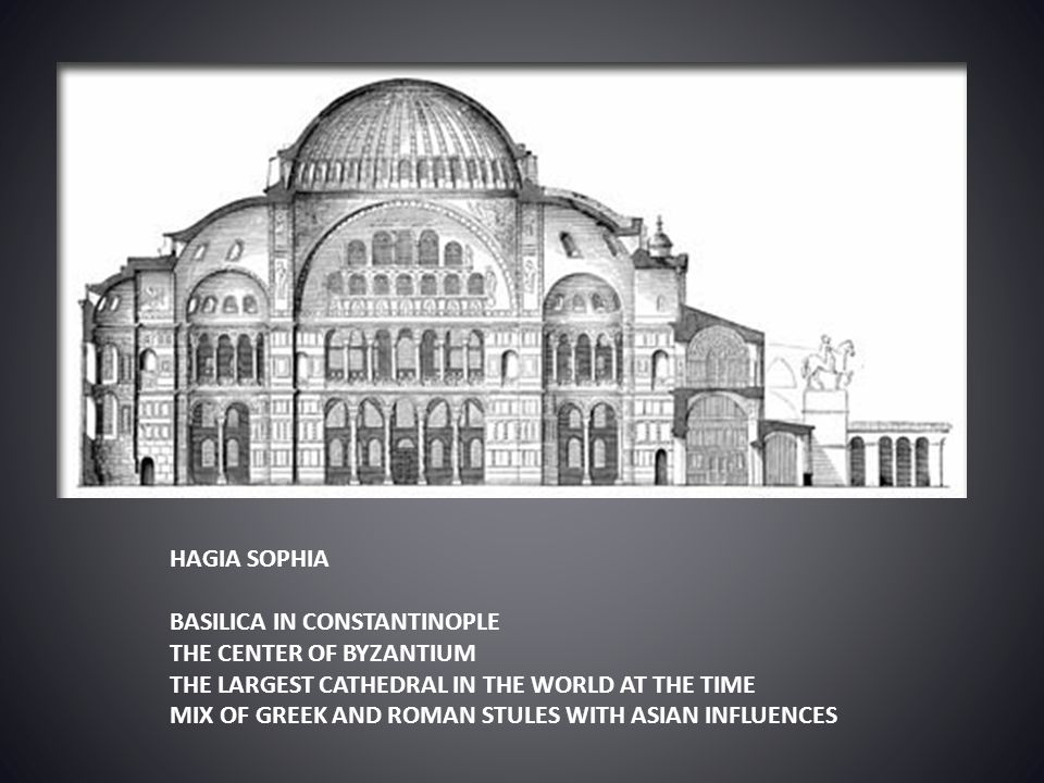 HAGIA SOPHIA BASILICA IN CONSTANTINOPLE. THE CENTER OF BYZANTIUM. THE LARGEST CATHEDRAL IN THE WORLD AT THE TIME.