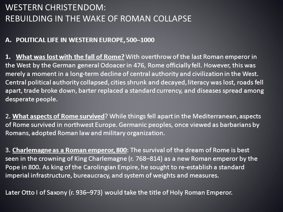 REBUILDING IN THE WAKE OF ROMAN COLLAPSE