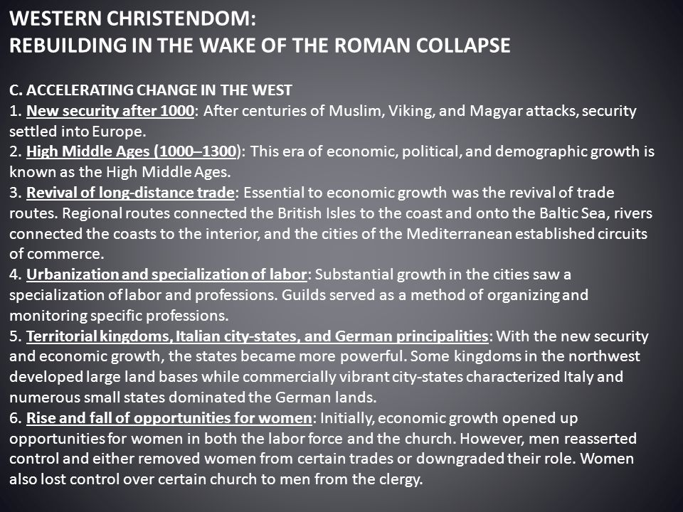 REBUILDING IN THE WAKE OF THE ROMAN COLLAPSE