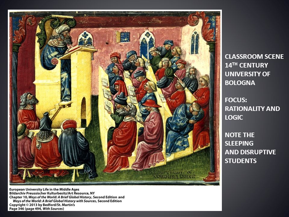 CLASSROOM SCENE 14TH CENTURY. UNIVERSITY OF BOLOGNA. FOCUS: RATIONALITY AND LOGIC. NOTE THE SLEEPING.