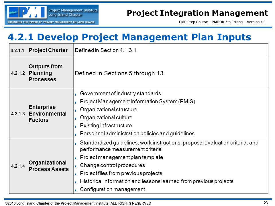 4.2.1 Develop Project Management Plan Inputs