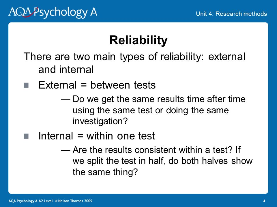 "types of reliability and validity in research Types of reliability although this is not a very ""scientific"" type of validity reliability practical assessment, research & evaluation, 7."
