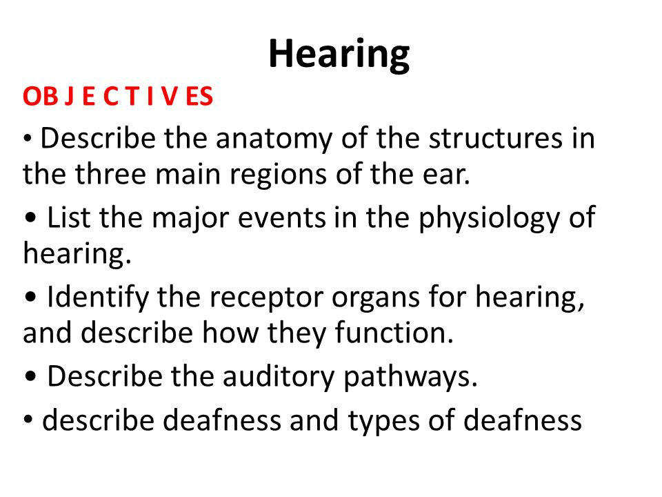 Hearing List The Major Events In The Physiology Of Hearing Ppt