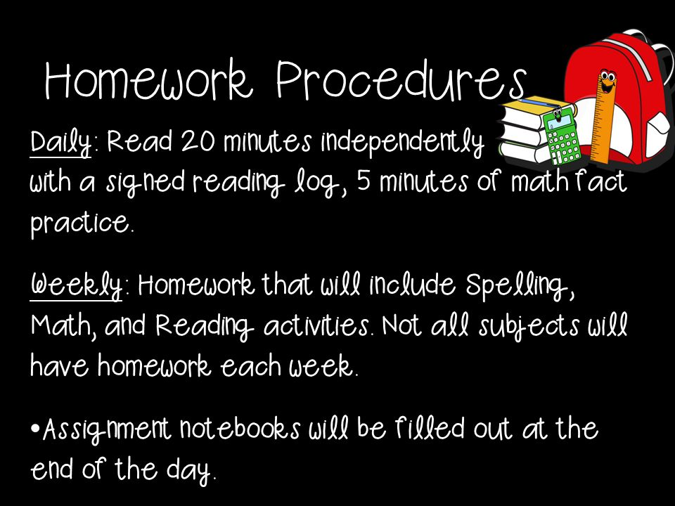 20 minutes reading homework
