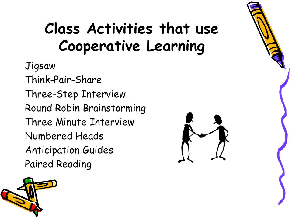 Class Activities that use Cooperative Learning