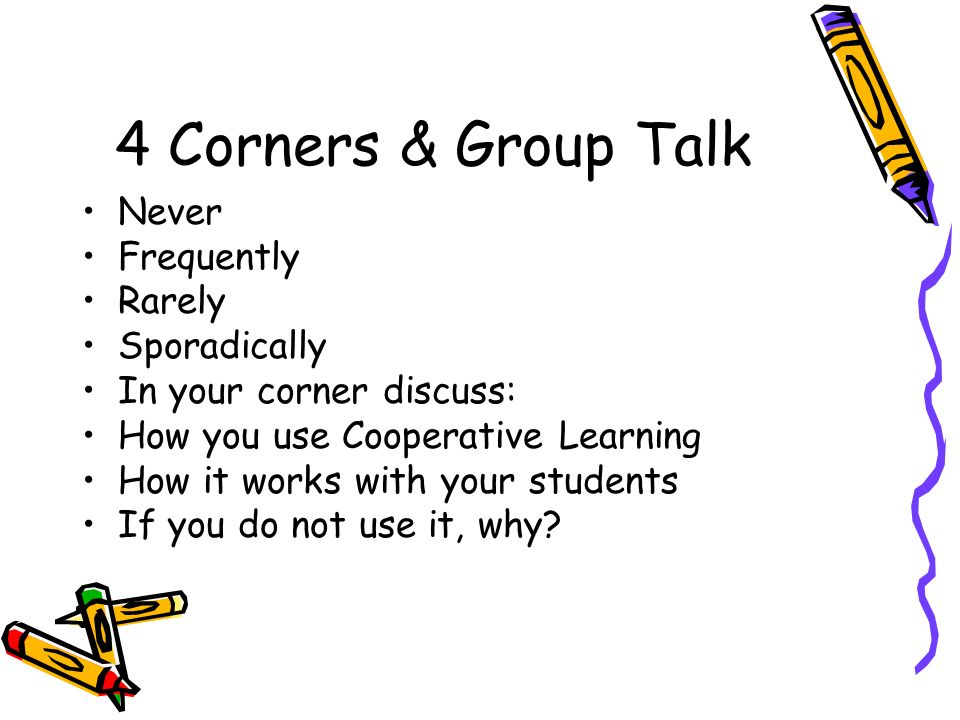 4 Corners & Group Talk Never Frequently Rarely Sporadically