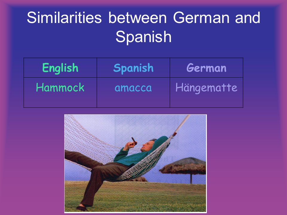 Similarities between German and Spanish