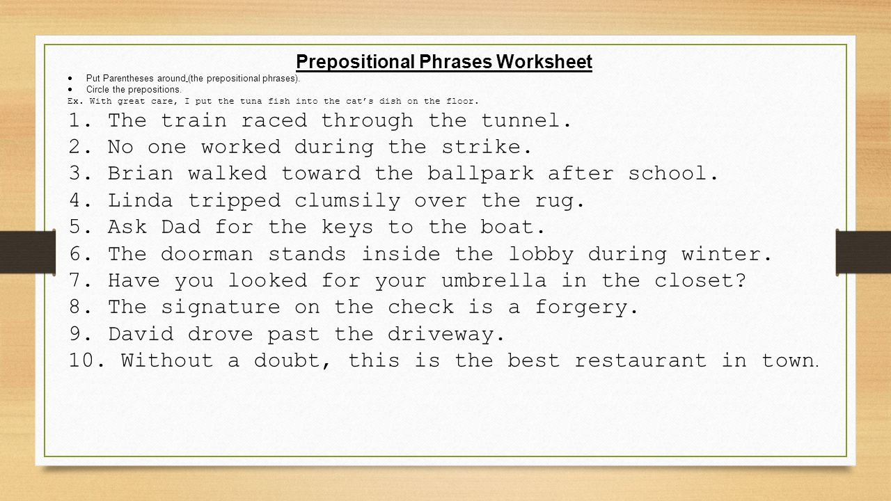 Day 3 Honors Prepositions and Annotations ppt video online – Prepositional Phrase Worksheet