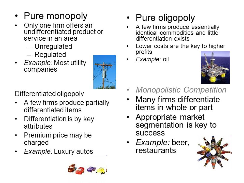 pure and monopolistic competition Monopolistic competition concentration ratios mutual dependence   becomes a price maker, albeit it with less flexibility, than a pure monopolist at the  same.