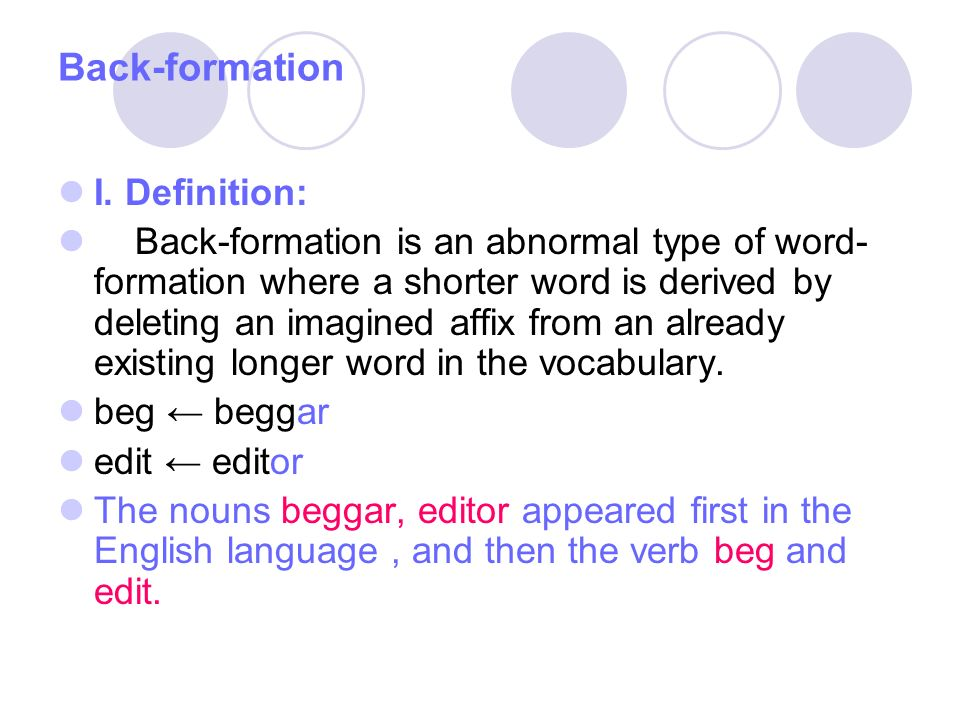 Back Formation I. Definition: