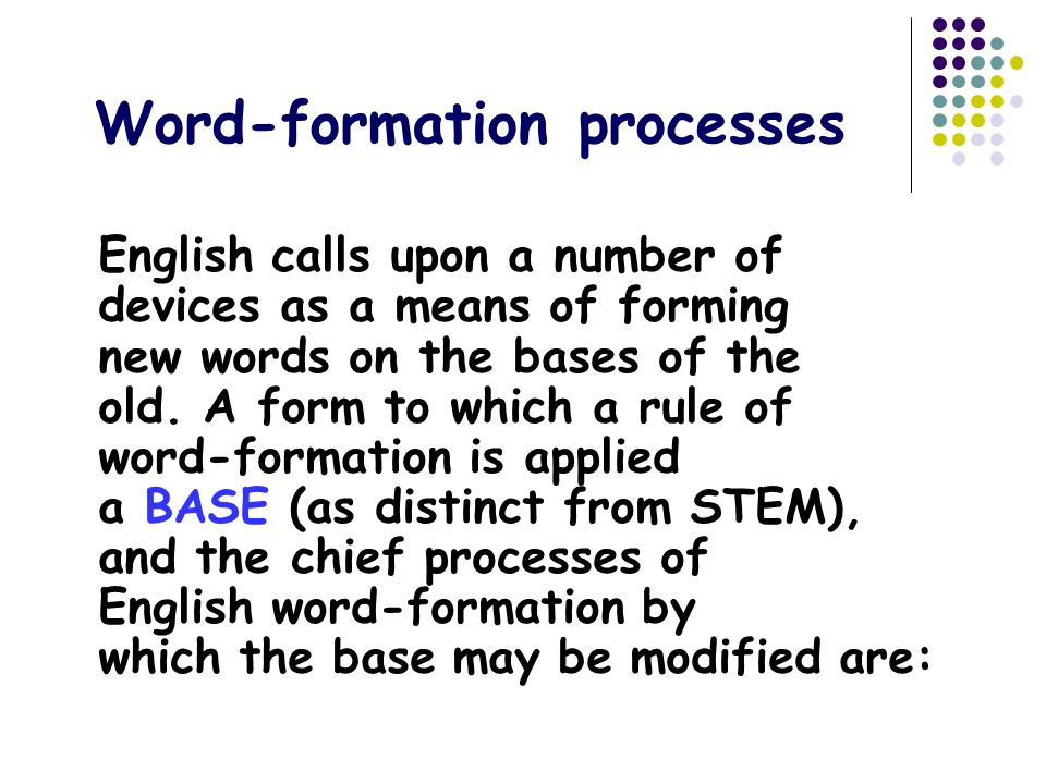 word formation processes This video lecture is a part of the course 'an introduction to english linguistics' at the university of neuchâtel this is session 4, in which i discuss.