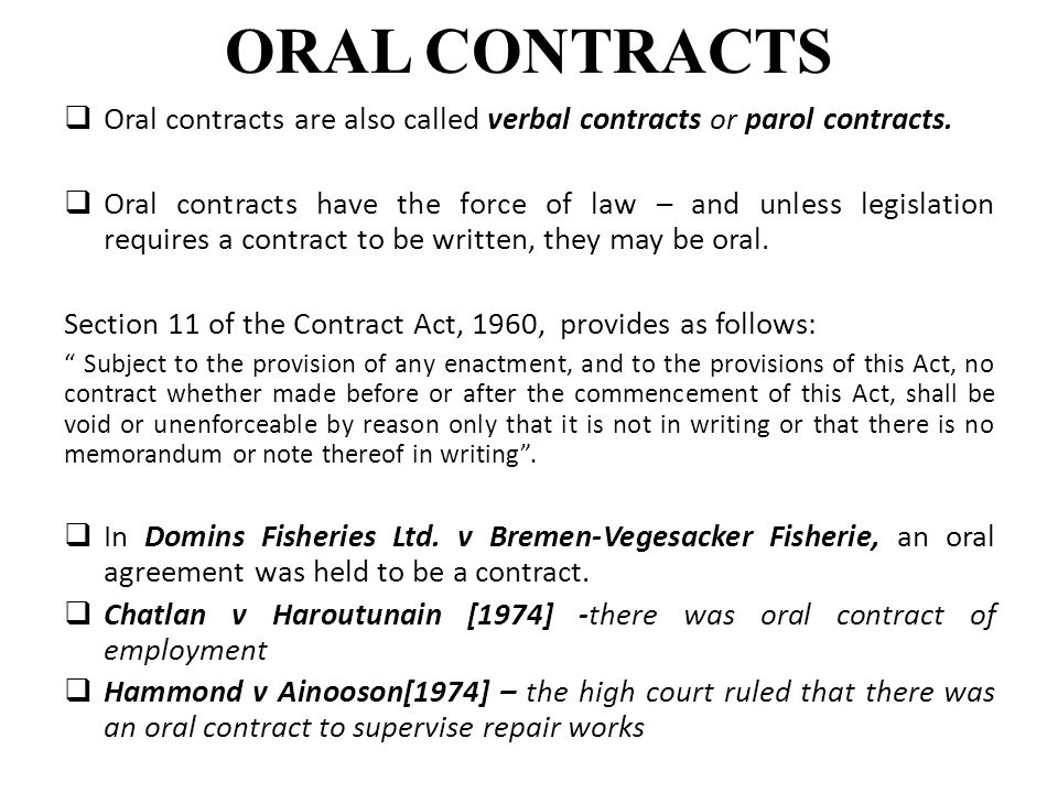Classifications of contracts ppt video online download oral contracts oral contracts are also called verbal contracts or parol contracts platinumwayz