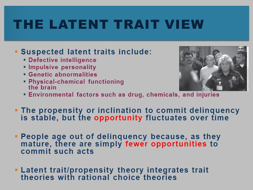 choice and trait theory Definition of trait theory: the measurement of consistent patterns of habit in an individual's behavior, thoughts, and emotions.
