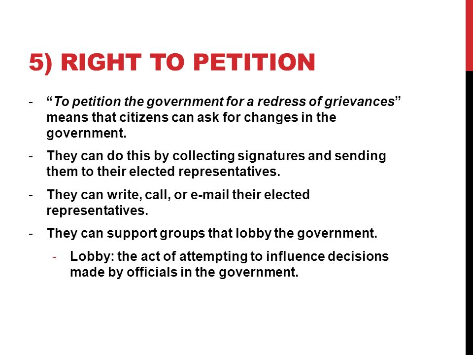 an argument in favor of the right to petition government with grievances 2014-9-15 the truth about frivolous tax arguments  and to petition the government for a redress  granted summary judgment in favor of the government,.