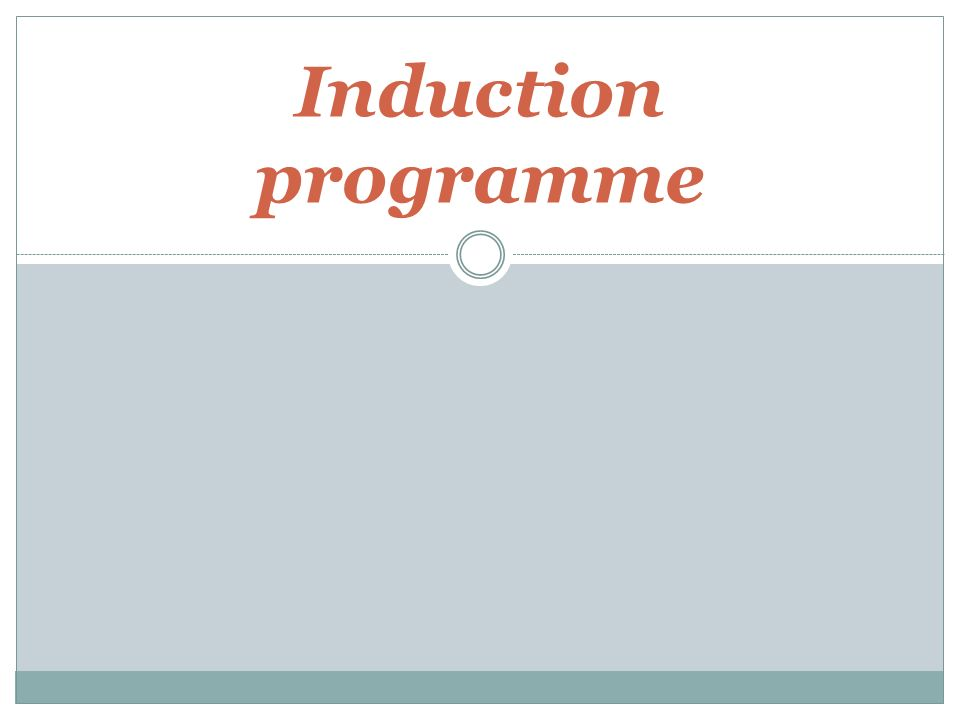 Induction schedule template.