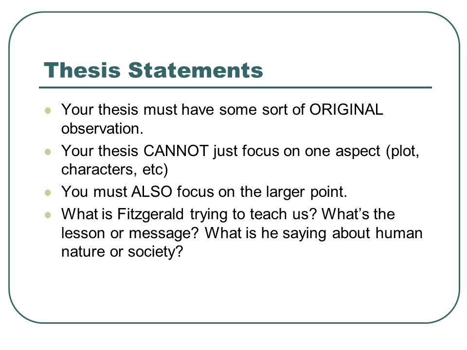Establishing The Main Idea Of Your Critical Analysis Essay  Ppt   Thesis Statements