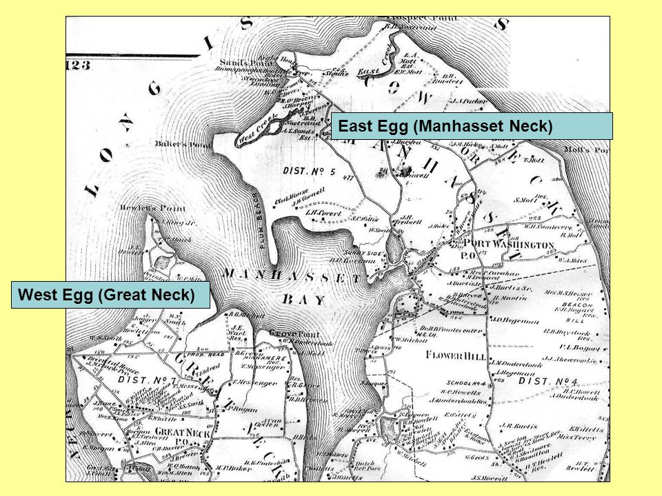 comparing east egg and west egg A discussion of east and west egg as a symbol in the great gatsby by f scott fitzgerald.