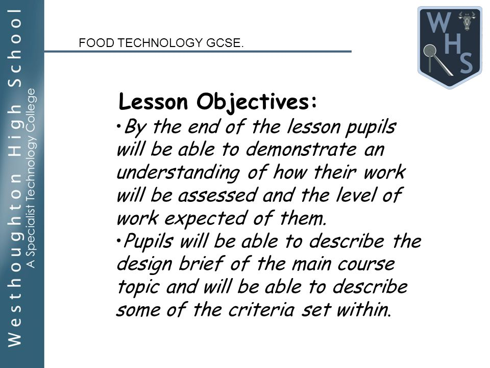Food technology gcse year 10 design brief for main meals ppt 2 food technology gcse forumfinder Images