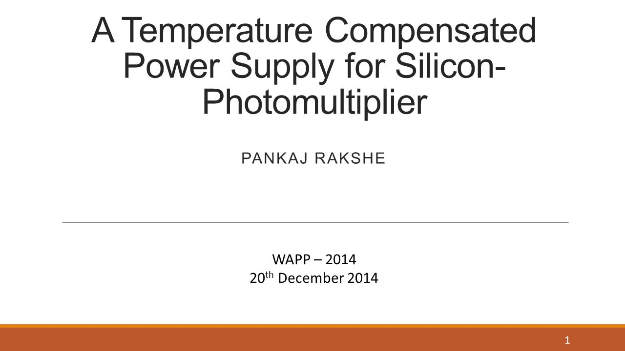 A Temperature Compensated Power Supply For Silicon Photomultiplier Temperaturecompensated Diode Input Detector Circuit 555