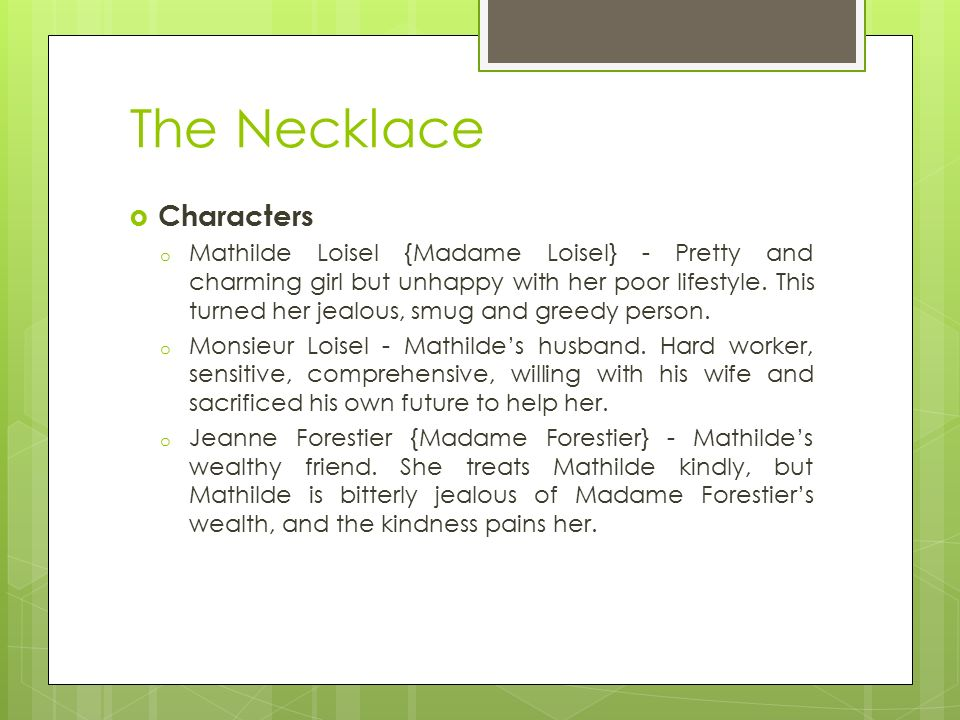 The Necklace Summary