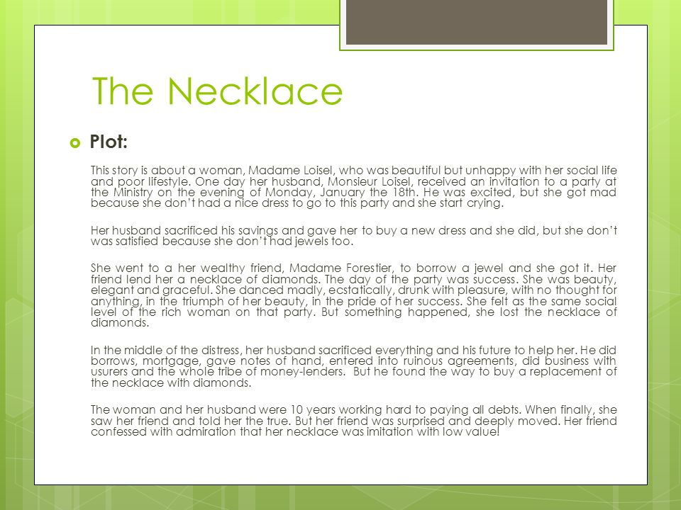 Introduction & Overview of The Necklace