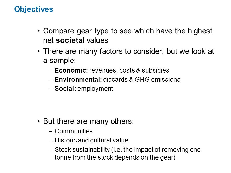 Compare gear type to see which have the highest net societal values