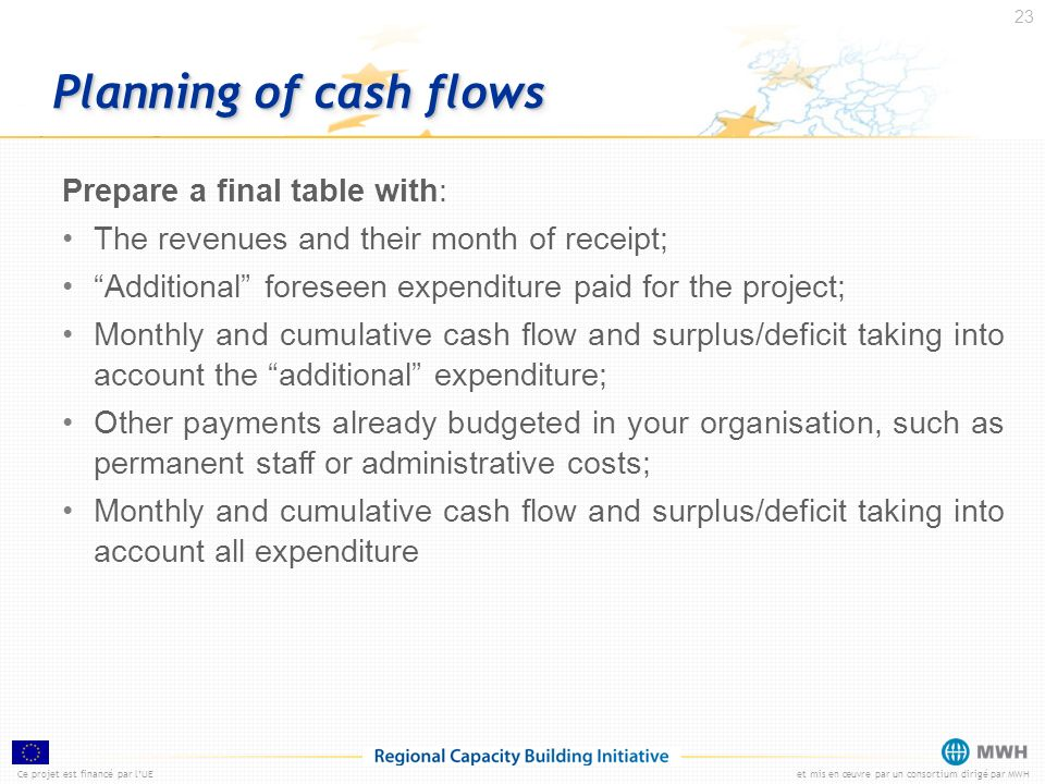Planning of cash flows Prepare a final table with: