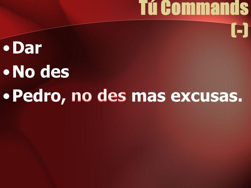 Tú Commands (-) Dar No des Pedro, no des mas excusas.