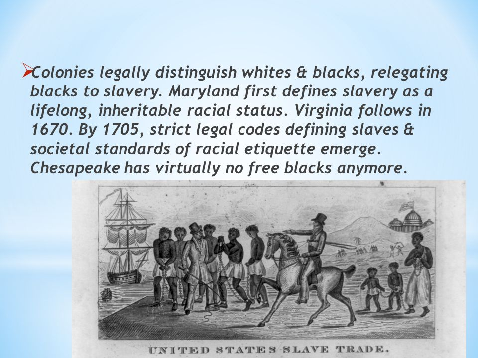 virginia slave codes essay Slavery was the main resource used in the chesapeake tobacco plantations the conditions in the chesapeake region were difficult, which lead to malnutrition, disease, and even death.