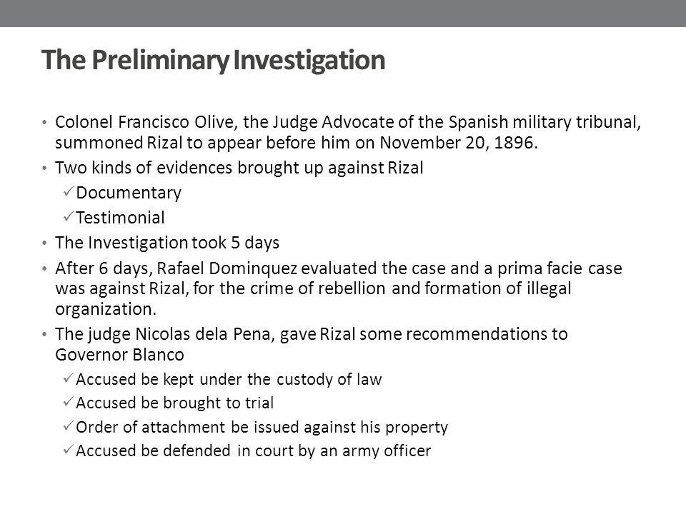 The Preliminary Investigation