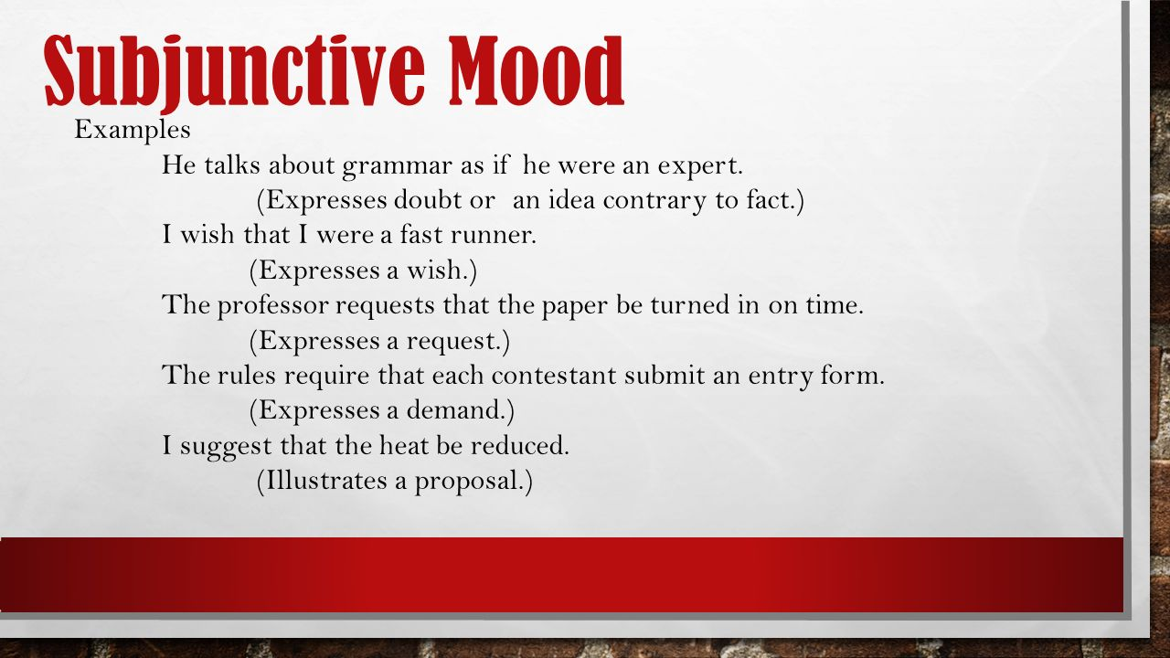 grammatical mood and subjunctive mood The subjunctive (subjuntivo) is one of three moods in spanish (indicative, imperative, and subjunctive)a mood is a grammatical term which helps categorize verb tenses the subjunctive mood is used more frequently in spanish than in engl.