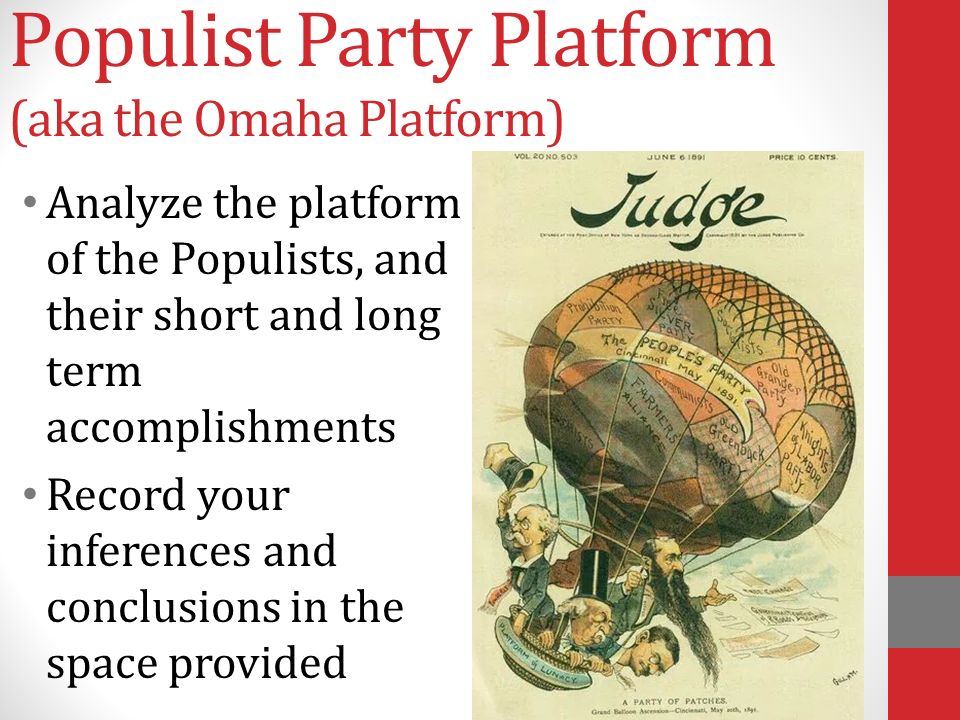 populist party essay American history essays: analyze the reasons for the emergence of the populist party.