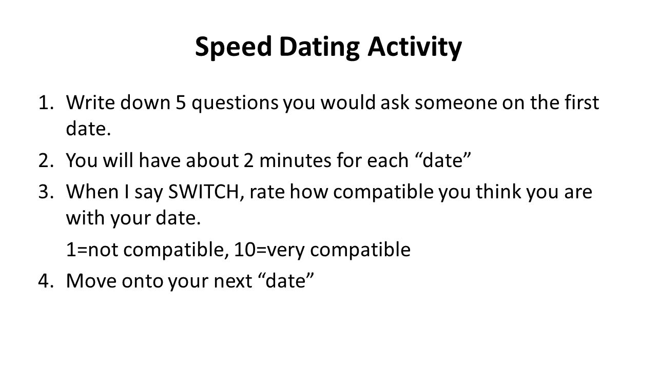 what questions do you ask when speed dating First things first — the biggest piece of dating advice anyone could give you is this: the 7 best questions to ask on a first date to really get to know someone.