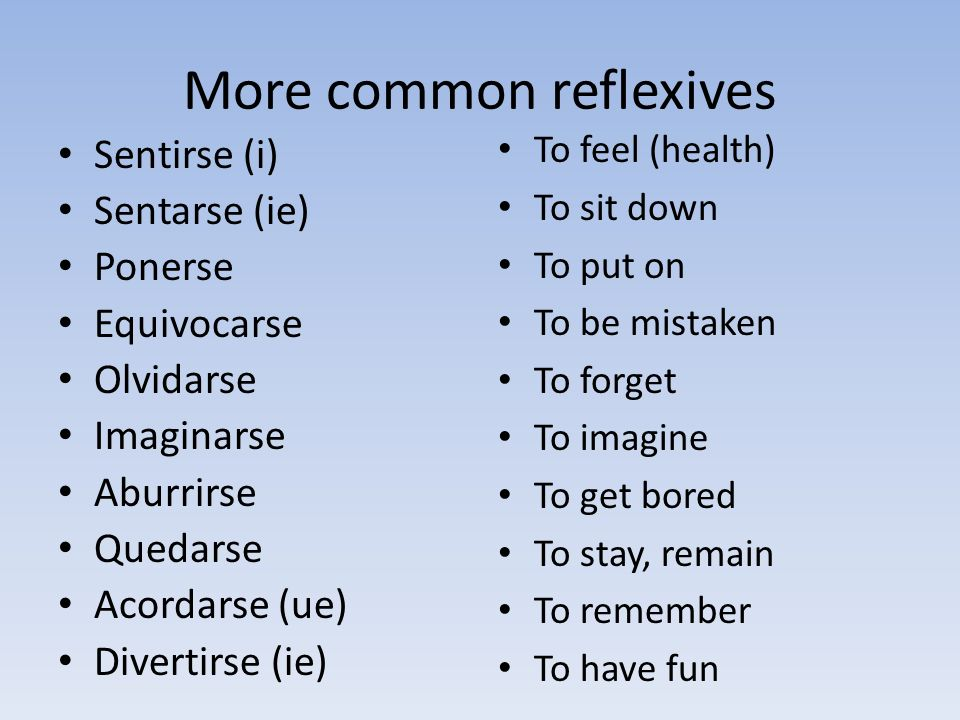 More common reflexives