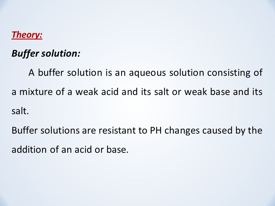an analysis of the preparation of two buffer solutions A buffer keeps the ph of a solution constant by taking up protons that are  the  higher the water solubility, the simpler it is to prepare concentrated stock  solutions  phosphate and pyrophosphate are both substrates and inhibitors of  different  if buffers interfere with photometric analyses, they should be  neutralised or set.