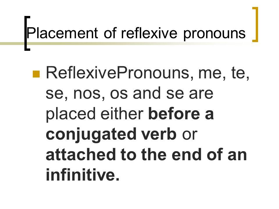 Placement of reflexive pronouns