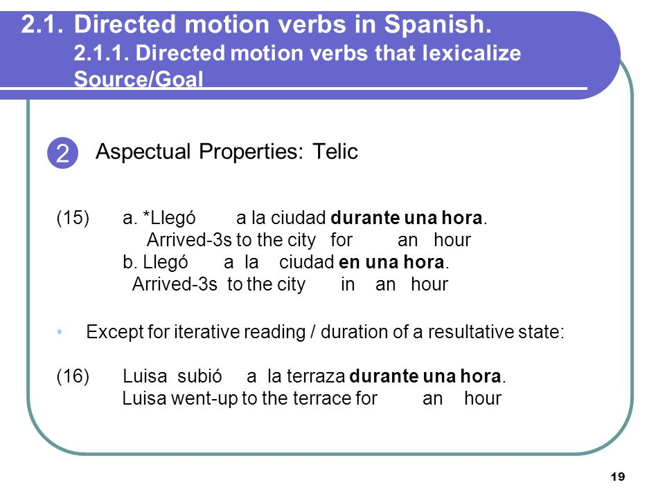 2. 1. Directed motion verbs in Spanish. 2. 1. 1