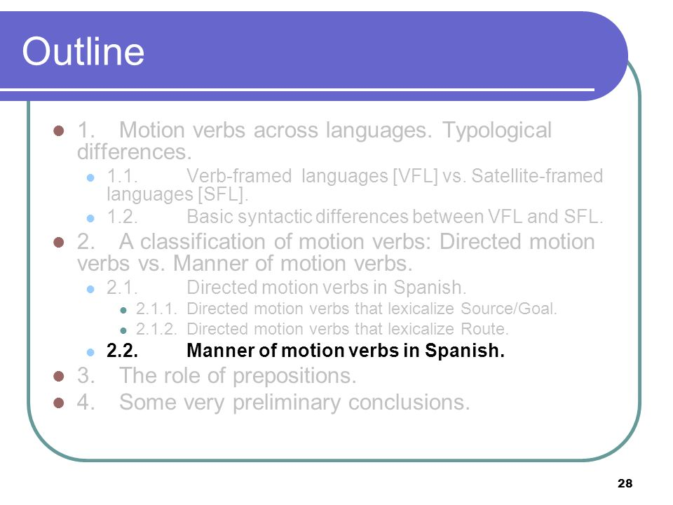 Outline 1. Motion verbs across languages. Typological differences.