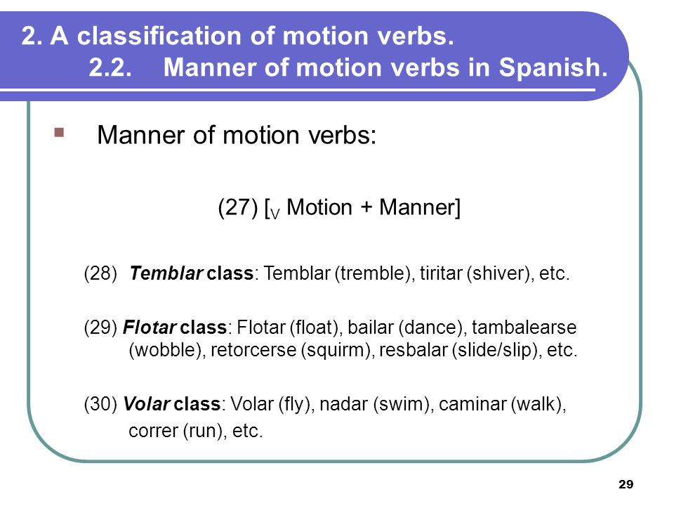 Manner of motion verbs: