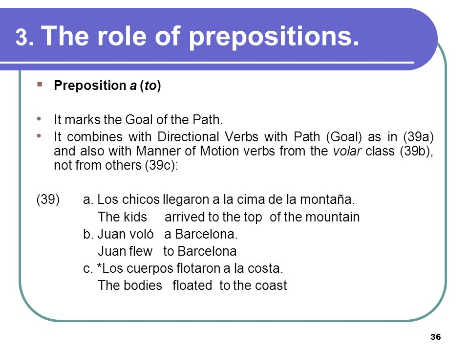 3. The role of prepositions.