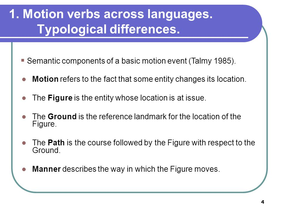 1. Motion verbs across languages. Typological differences.