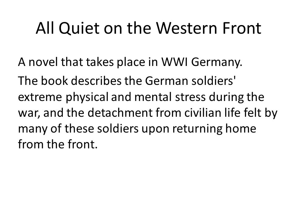 All quiet on the western front essays – All Quiet on the Western Front Worksheet