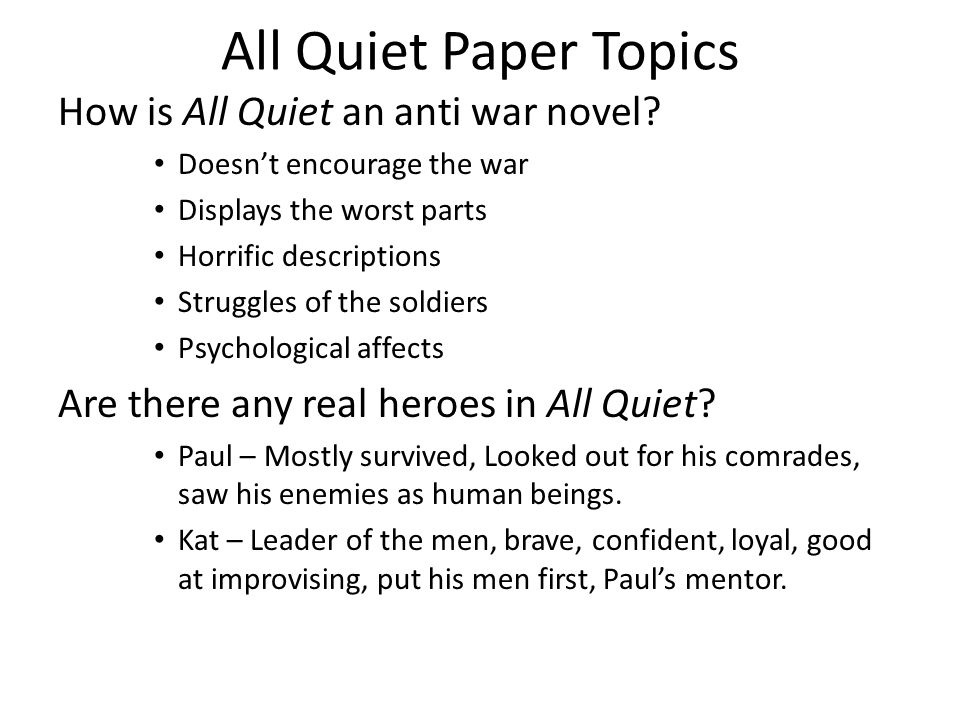 an analysis of the disorders from war in all quiet on the western front A summary of chapter eleven in erich maria remarque's all quiet on the  western  paul compares war to a deadly disease like the flu, tuberculosis, or  cancer.